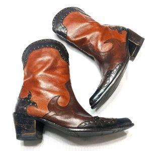 Stuart Weitzman Leather Cowboy Boots Shoes 8